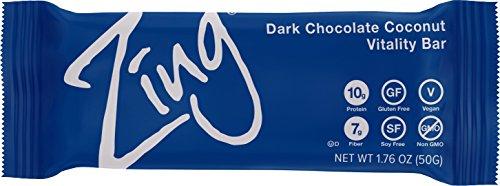 Zing Vital Energy Nutrition Bar, Dark Chocolate Coconut, (12 Bars), High Protein, High Fiber, Low Sugar, Real Dark Chocolate, Moist Macaroon Coconut, Vegan