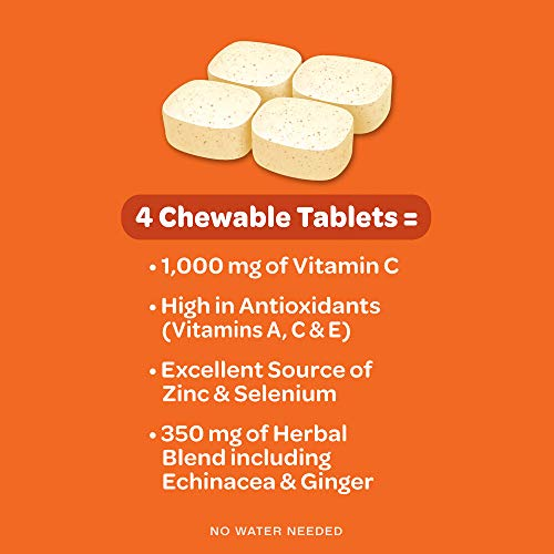 Vitamin C 1000mg - Airborne Chewable Tablets 96 Count - Herbal Immune Support Supplement, Antioxidants (Vitamin A, C & E), Citrus Flavor للبيع