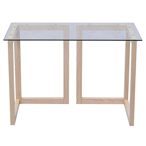 Moon Daughter Maple Wood Leg Clear Table Tempered Glass Top Table Computer Desk Writeing Workshop Home Office 44