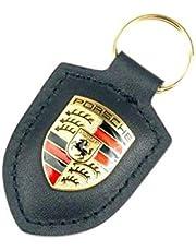 ORIGINAL Porsche sleutelhanger zwart leer met wapen WAP0500900E
