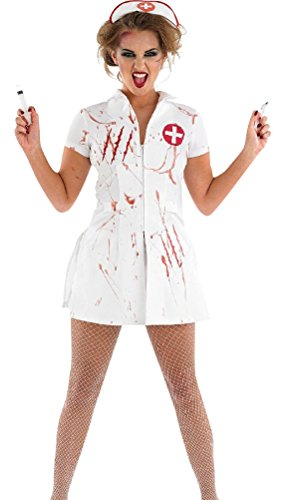 Adult Corpse Bride Deluxe Costumes (Scary Nurse Costume, Women Halloween Deluxe Bloody Ghost Cosplay Uniform White (M))