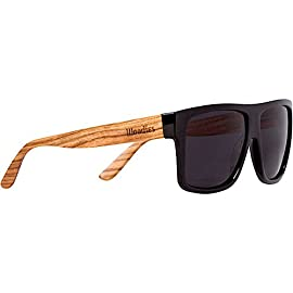 Woodies Zebra Wood Aviator Wrap Sunglasses with Black Polarized Lenses 20 COMFORTABLE: Handmade from REAL Zebra Wood (50% Lighter than Ray-Bans) EXTRAS: Includes FREE Carrying Case, Lens Cloth, and Wood Guitar Pick PROTECTION: Polarized Lenses Provide 100% UVA/UVB Protection