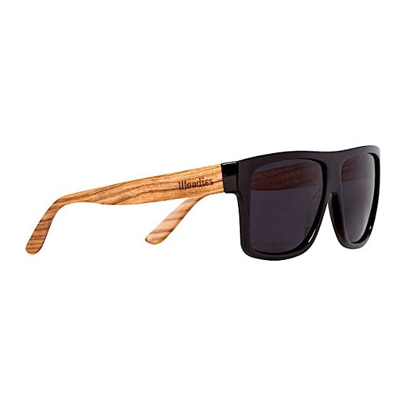 Woodies Zebra Wood Aviator Wrap Sunglasses with Black Polarized Lenses 1 COMFORTABLE: Handmade from REAL Zebra Wood (50% Lighter than Ray-Bans) EXTRAS: Includes FREE Carrying Case, Lens Cloth, and Wood Guitar Pick PROTECTION: Polarized Lenses Provide 100% UVA/UVB Protection