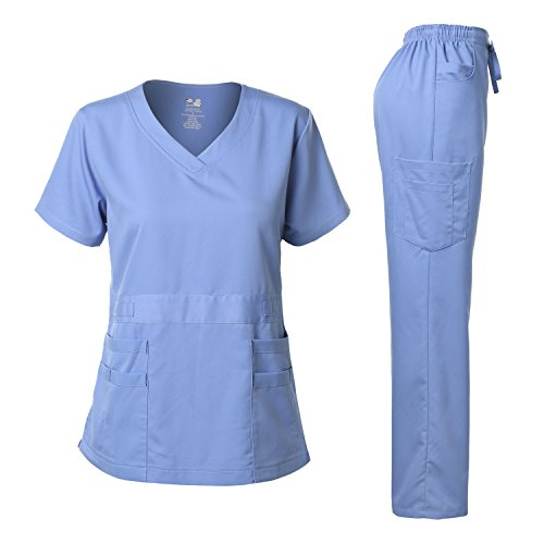 Women's Scrubs Set Stretch Ultra Soft V-Neck Top and Pants Ceil Blue L