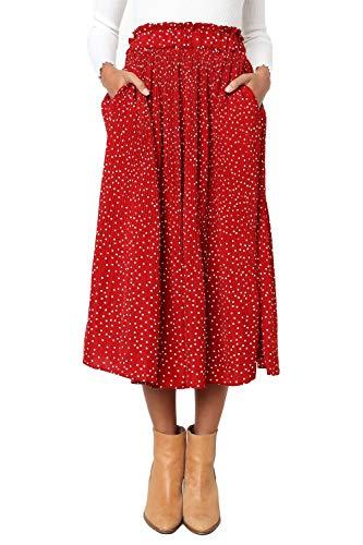 Skirt Woven Elastic Waist (Women's Polka Dot Midi Pleated Length Skirts with Pockets Elastic Waist (Red,S))
