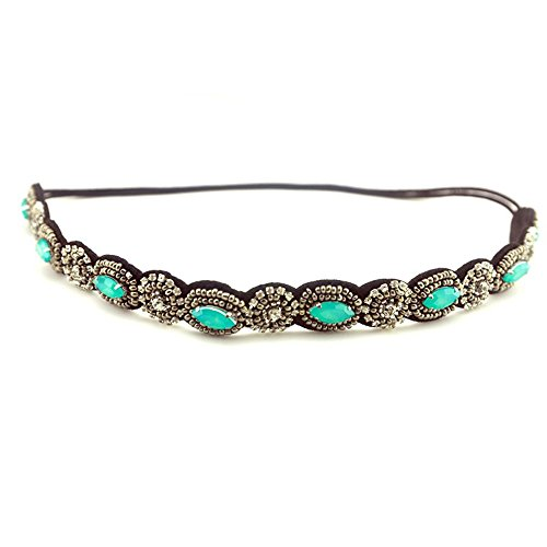 Ever Fairy Vintage Women Turquoise Beads Crystal Handmade Elastic Headband Hair band (Plastic Vintage Beads)