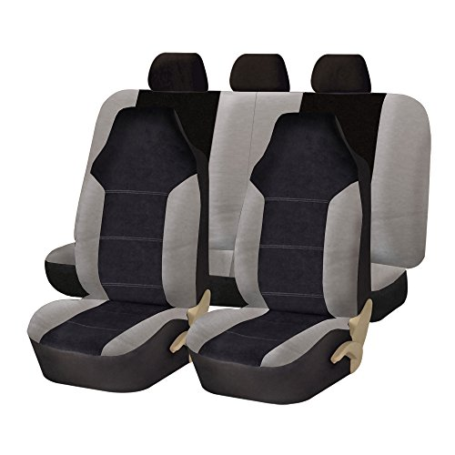 (FH Group FB103115 Leather/Velour Seat Covers (Airbag Compatible & Split Rear Bench) Gray/Black w. FREE GIFT- Fit Most Car, Truck, Suv, or Van)
