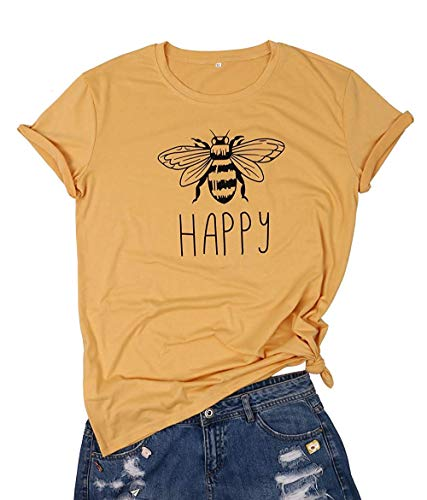 LUKYCILD Be Happy Shirt Top Bee Happy T Shirt Women Short Sleeve Funny Cute Bee Graphic Tees Casual Tops Size M(Yellow)
