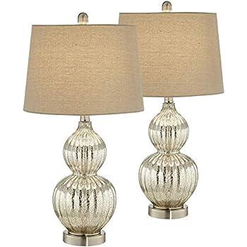 Modern Table Lamp Antique Mercury Glass Triple Gourd Off