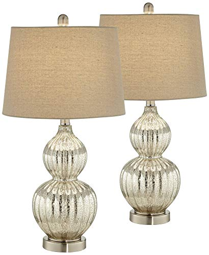 (Lili Modern Table Lamps Set of 2 Fluted Mercury Glass Double Gourd Drum Shade for Living Room Family Bedroom Bedside - Regency Hill)