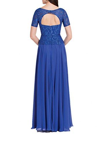 Blau Kurzarm Chiffon Bodenlang Abendkleider Royal Blau Partykleider Royal Spitze Damen mit Brautmutterkleider Charmant SwFUan