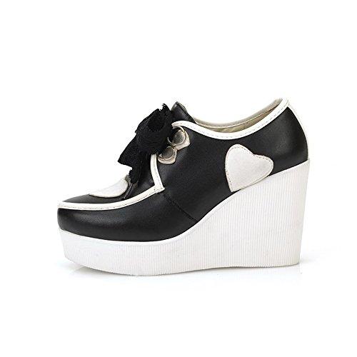 hauts souple PU couleurs pour escarpins VogueZone009 Chaussures noir bandage à assorties avec matériel talons femmes wnRA1t1qg