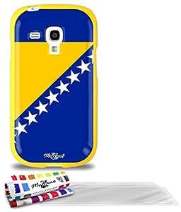 """Carcasa Flexible Ultra-Slim SAMSUNG GALAXY S3 MINI ( I8190 ) de exclusivo motivo [Bosnia y Herzegovina Bandera] [Amarillo] de MUZZANO  + 3 Pelliculas de Pantalla """"UltraClear"""" + ESTILETE y PAÑO MUZZANO REGALADOS - La Protección Antigolpes ULTIMA, ELEGANTE Y DURADERA para su SAMSUNG GALAXY S3 MINI ( I8190 )"""