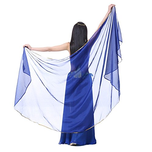 - AvaCostume Chiffon Solid Color Dance Veils Belly Scarves, Darkblue,one size