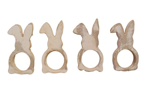 Wooden Easter Bunny Rabbit Napkin Rings Set of 4