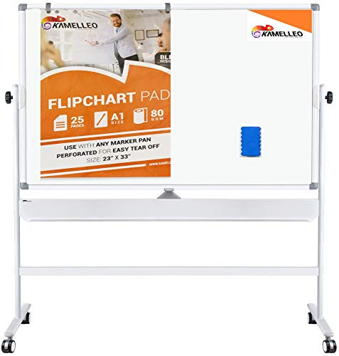 (Double Sided Mobile Whiteboard - 48 x 36 Inches Magnetic Dry Erase Board on Wheels - Large Rolling Stand Portable White Board for Home, Office, School Set with Flip Chart Holders, Paper Pad and Eraser)