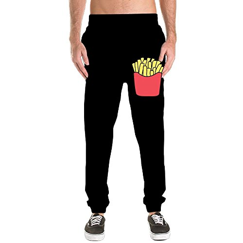 Jogger Sweatpants French Fries Running Trousers Dri-Power Closed-Bottom Pants Pockets Workout Training Pants L