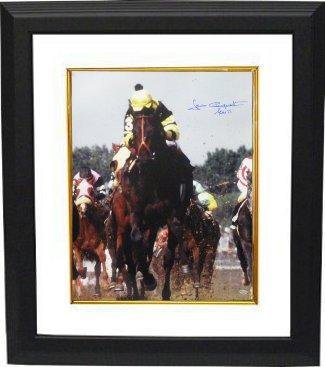 Seattle Slew signed Kentucky Derby Horse Racing 16x20 Photo Custom Framed Vertical w/ Slew 77 - Autographed Sports Photos