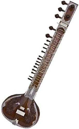 Maharaja Musicals Sitar - In USA, Kharaj Pancham, 32P, Single Tumba, Fiber Case Trolley, Mizrabs, Extra Strings (PDI-IJ) by Maharaja Musicals