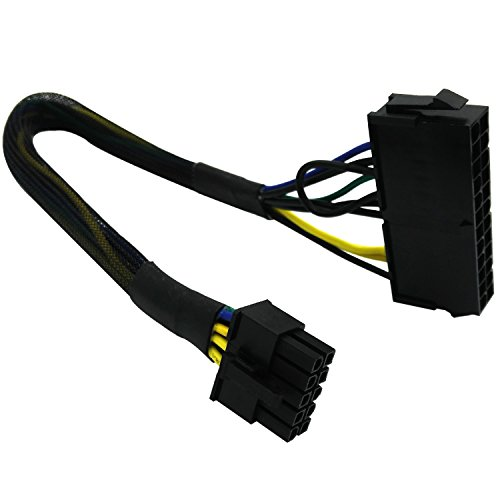 COMeap 24 Pin to 10 Pin ATX PSU Main Power Adapter Braided Sleeved Cable for IBM/Lenovo PCs and Servers 12-inch(30cm)