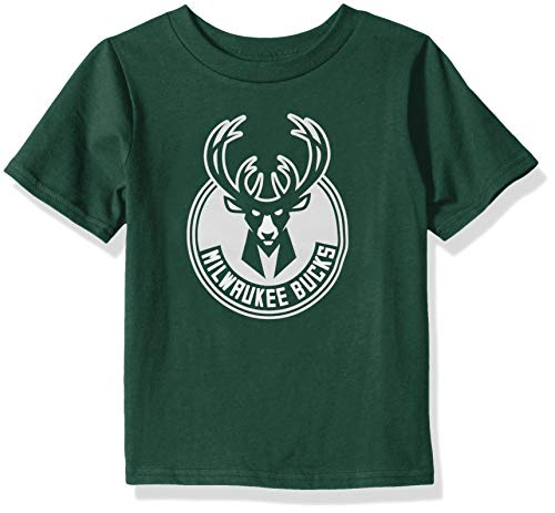 - Outerstuff NBA NBA Kids & Youth Boys Milwaukee Bucks Primary Logo Short Sleeve Basic Tee, Hunter, Youth Medium(10-12)