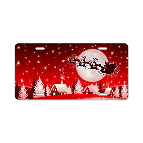 Christmas New Year Santa Deer Moon Winter Home,Bathroom and Bar Wall Decor Car Vehicle License Plate Metal Tin Sign Plaque