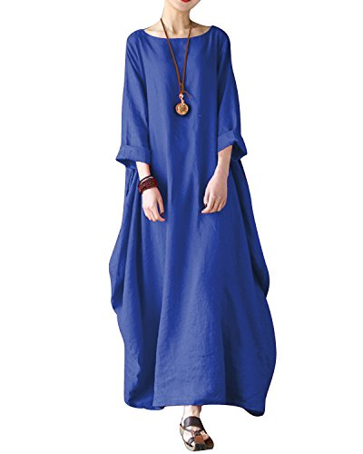 Bohistyle Women Plus Size Batwing Linen Cotton Loose Kaftan Casual Dress Blue (Blue Kaftan)