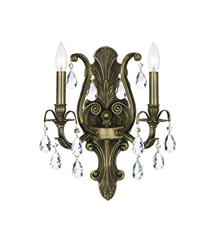 Crystorama Antique Brass Sconce - Crystorama Dawson 5563 2 Light Wall Sconce - Antique Brass - Clear Handcut Crystal