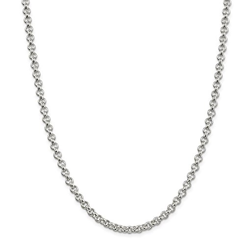 925 Sterling Silver 5mm Polished Rolo Link Chain Necklace 30