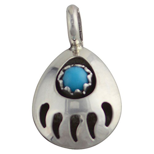 Navajo Bear - Select Jewelry Displays Janice White Sterling Silver Turquoise Bear Paw Pendant Navajo