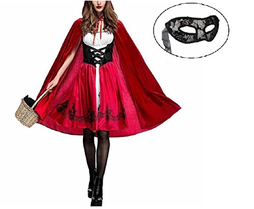 Vegang Women Fancy Little Red Riding Hood Like Costume Party Dress Cape (XL)