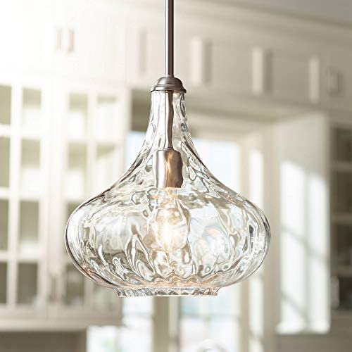 Cora Brushed Nickel Mini Pendant Light 11″ Wide Modern Handmade Textured Glass Fixture