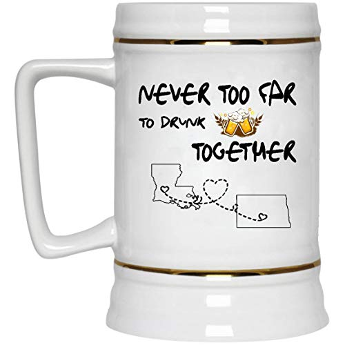 Distance Mug State Louisiana North Dakota Never Too Far To Drink Beer Wine Together - Dad And Daughter Mug Distace Relationships Funny Mugs 22 Oz White Ceramic Stein - North Dakota Wine