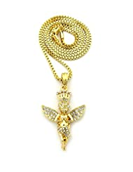 Crowned Angel Stone Stud Pendant w/ Chain Necklace
