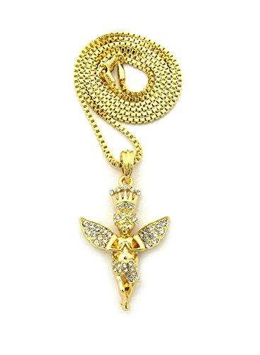 (Gold Tone Micro Crown Baby Angel Cherub Pendant 2mm 24