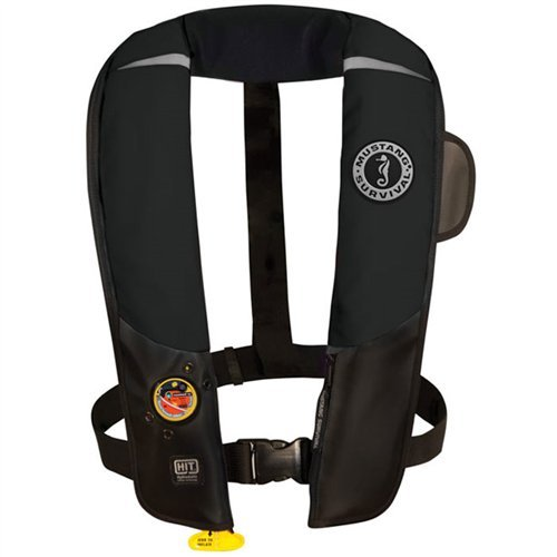 Mustang Survival Corp Inflatable PFD with HIT (Auto Hydrostatic) and Bright Fluorescent Inflation Cell, Black by Mustang Survival (Image #1)'