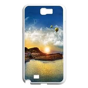 Beach House At Sunset Digital Art0X0 Samsung Galaxy N2 7100 Cell Phone Case White TPU Phone Case SV_227049