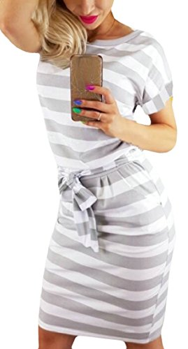 with Short Pockets Grey Women's Jaycargogo Sleeve Stripe Dress Midi Length Knee 86nzHWnO