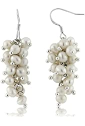 "1.5"" White Cultured Freshwater Pearl 5-6mm 925 Sterling Silver Dangle Earrings"