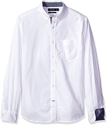 Nautica Mens Classic Fit Stretch Solid Long Sleeve Button Down Shirt