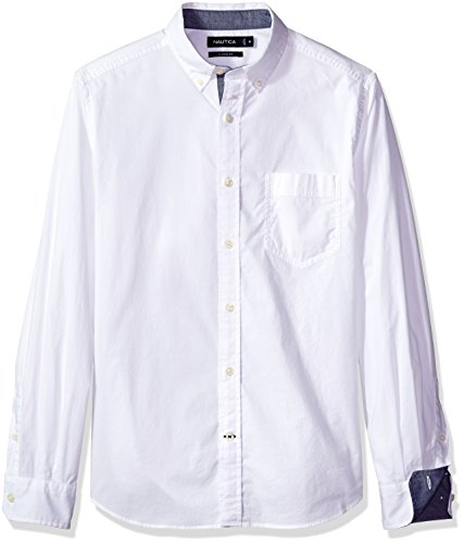 Nautica Men's Classic Fit Stretch Solid Long Sleeve Button Down Shirt, Bright White, (Nautica White Shirt)