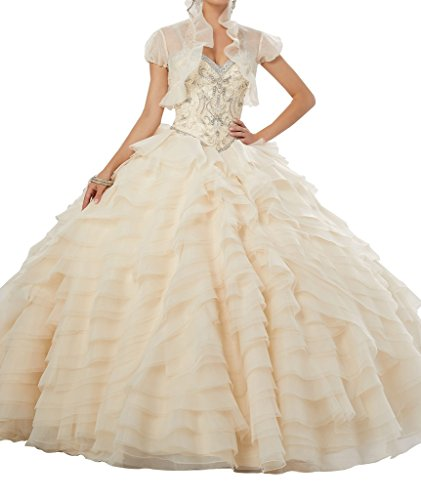 BoShi Women's Beaded Tiers Ruffled Bodies Princess Wedding Pageant Quinceañera Dresses 12 US Champagne by Unknown