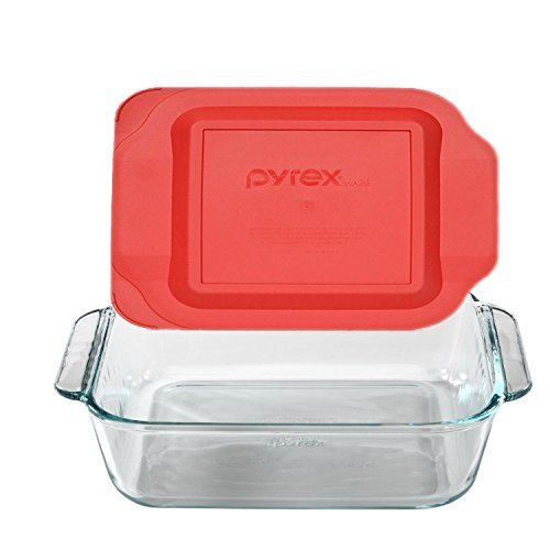Square baking dish with red plastic lid.