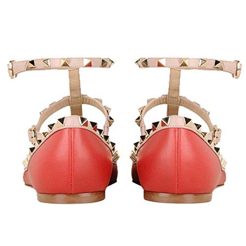 Aguzza cinghia Rivetti Pattini Scarpe Jushee Delle T Rosso Borchie Della Donne Ballerina Piani Punta 002 Classica qPtRA4
