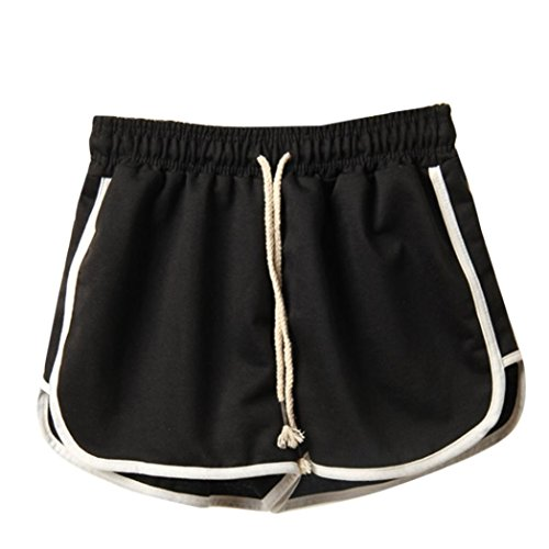 Yoga Shorts for Womens, FORUU Lady Summer Sport Gym Running Beach Leggings Pants (S, Black)