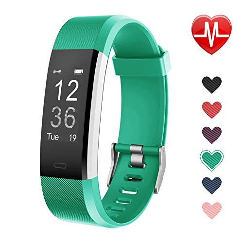 LETSCOM Fitness Tracker, Activity Tracker with Heart Rate Monitor, Step Counter, Sleep Monitor, Calorie Counter, Pedometer, IP67 Waterproof, Smart Watch for Kids Women and Men ()