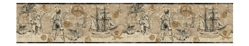 York Wallcoverings ZB3102B Pirate Map Border, Deep Linen Beige/Soft Sand Beige/Gray/Deep Bronzed Gold