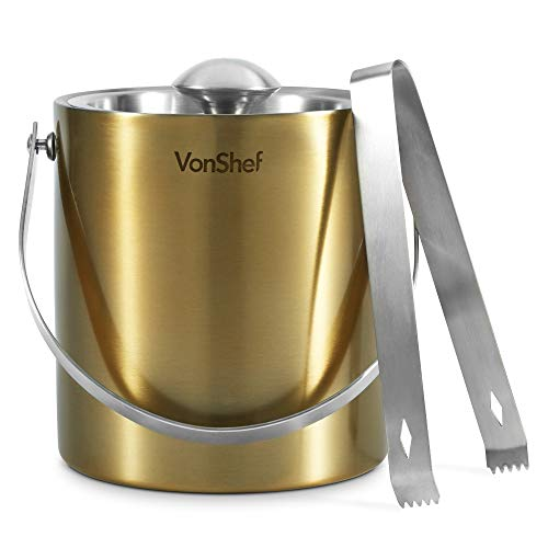 VonShef 3Qt Brushed Gold Stainless Steel Ice Bucket Barware Kit - Double Walled Insulated with Lid, Carry Handle and Tongs Set