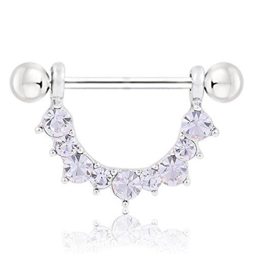 YiCheaGo 1pair U Style White Crystal Nipple Piercing Rings