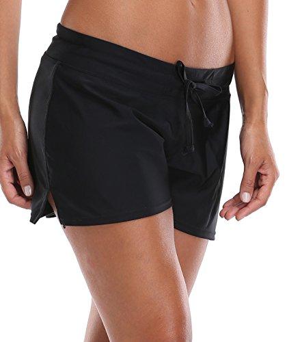 Charmleaks Women Swim Brief Board Shorts Bottom Plus Size Sun Pretection Beach Shorts Size,Black(Fulfilled by Amazon),Medium